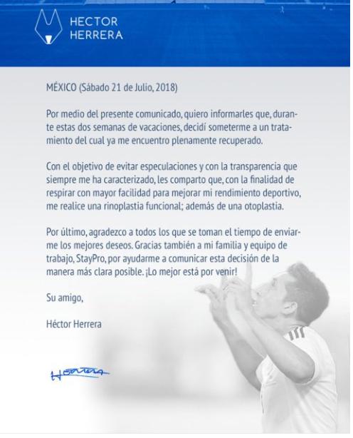 Héctor Herrera se somete a tratamiento