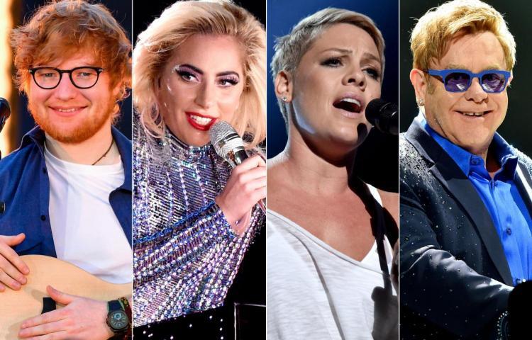 Ed Sheeran, Lady Gaga, P!nk, Cyrus, Lovato y Coldplay recrean a Elton John