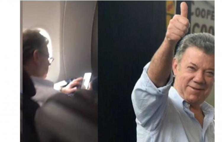 Mujer insulta al expresidente, Juan Manuel Santos, en pleno vuelo hacia EEUU