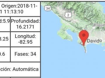 Se registra sismo de magnitud 5.9 en Chiriquí