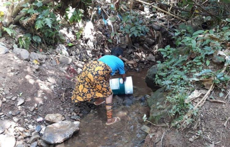 Toman agua de una quebrada en Arraiján