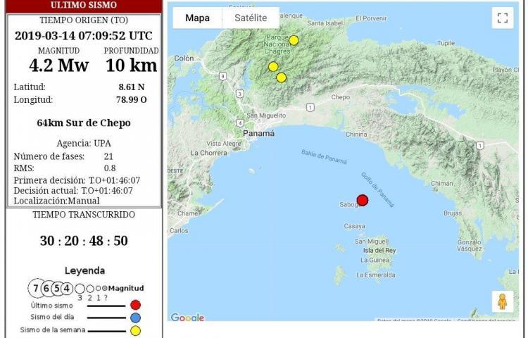Sismo de magnitud 4.2 sacude a Panamá en la madrugada