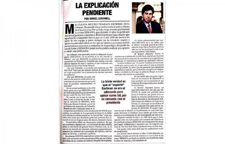 Polémica en Colombia por retiro de columna a jefe informativo de Univisión