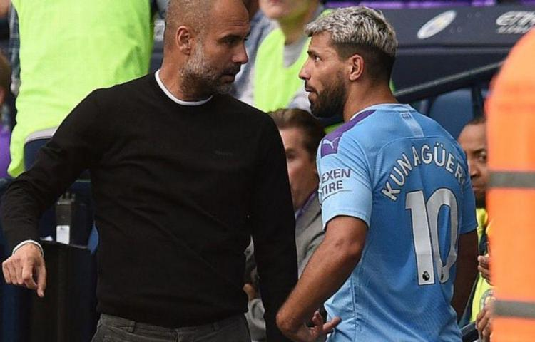 Guardiola y el 'Kun' discuten por cambio del argentino