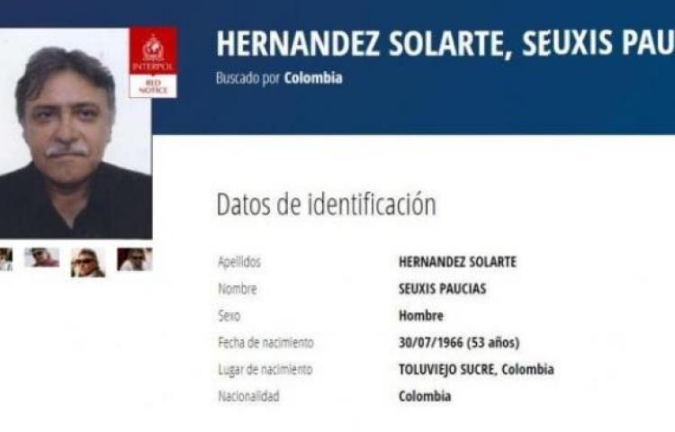 Interpol publica circular roja contra Jesús Santrich