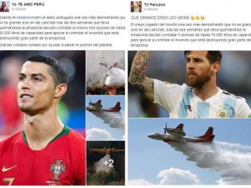 Virales de CR7 y Messi contratando aviones a favor de la Amazonía son falsos