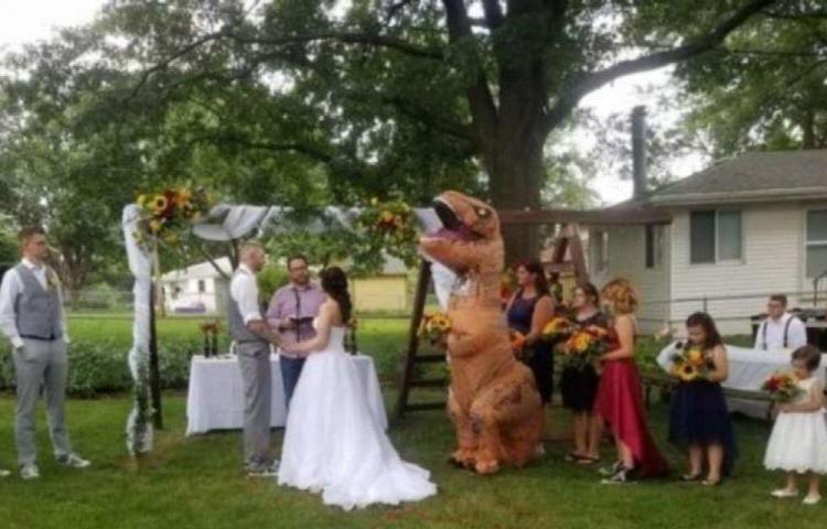 Fue vestida con un disfraz de dinosaurio