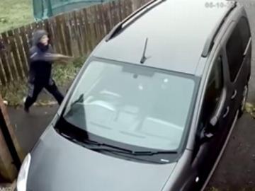 Karma instantáneo, ladrón intenta robar un carro y recibe un ladrillazo