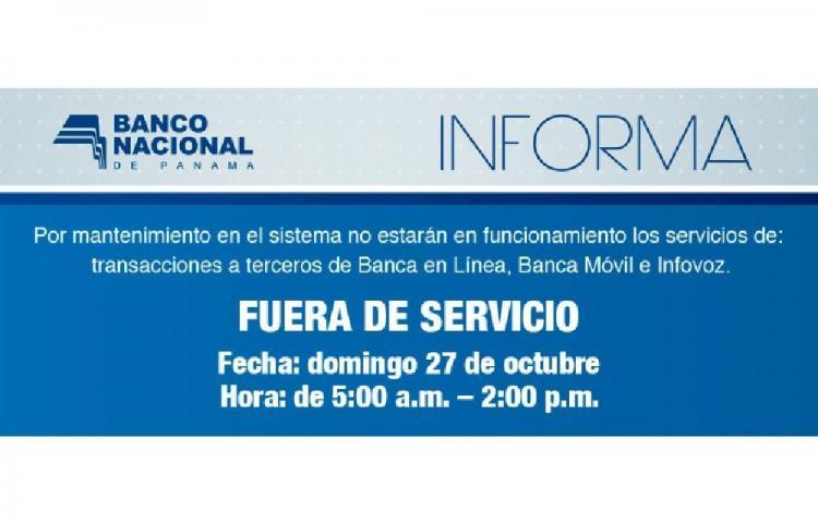 Banca en línea del Banco Nacional estará fuera de servicio este domingo