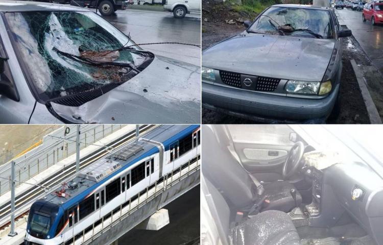 Cae pedazo de losa del Metro sobre un auto en San Miguelito
