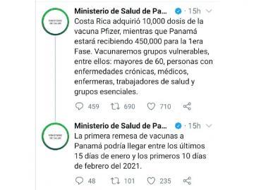 Ticos dicen que MINSA de Panamá miente sobre la adquisición de vacunas covid-19